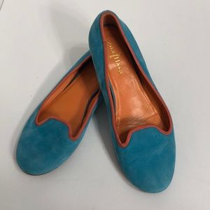 Cole Haan Turquoise and Coral Suede Flats